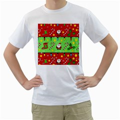Christmas pattern - green and red Men s T-Shirt (White) (Two Sided)