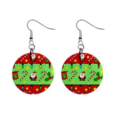 Christmas pattern - green and red Mini Button Earrings