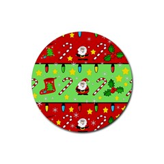 Christmas pattern - green and red Rubber Round Coaster (4 pack)