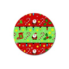 Christmas pattern - green and red Magnet 3  (Round)