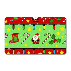 Christmas pattern - green and red Magnet (Rectangular)