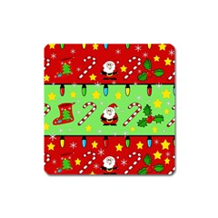 Christmas Pattern   Green And Red Square Magnet