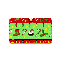 Christmas Pattern   Green And Red Magnet (name Card)