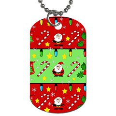 Christmas pattern - green and red Dog Tag (Two Sides)