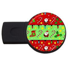 Christmas pattern - green and red USB Flash Drive Round (2 GB)