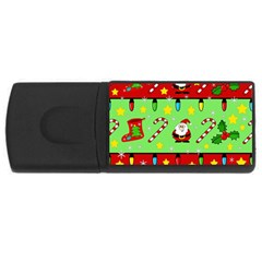 Christmas pattern - green and red USB Flash Drive Rectangular (2 GB)