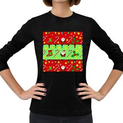 Christmas pattern - green and red Women s Long Sleeve Dark T-Shirts