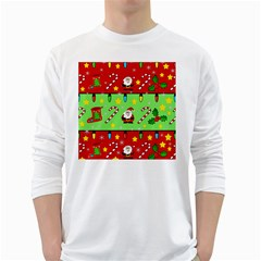 Christmas pattern - green and red White Long Sleeve T-Shirts