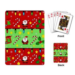 Christmas pattern - green and red Playing Card
