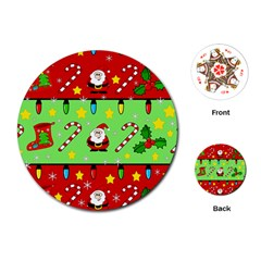 Christmas pattern - green and red Playing Cards (Round)