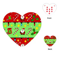 Christmas pattern - green and red Playing Cards (Heart)