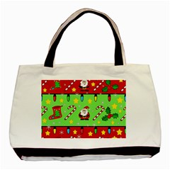 Christmas pattern - green and red Basic Tote Bag