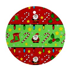 Christmas pattern - green and red Round Ornament (Two Sides)