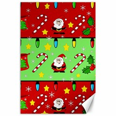 Christmas pattern - green and red Canvas 24  x 36