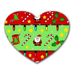 Christmas pattern - green and red Heart Mousepads