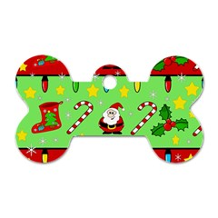 Christmas pattern - green and red Dog Tag Bone (One Side)