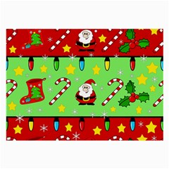 Christmas pattern - green and red Large Glasses Cloth (2-Side)