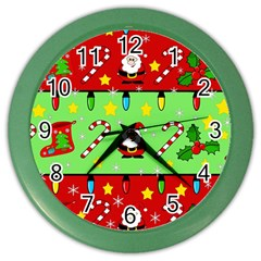 Christmas pattern - green and red Color Wall Clocks