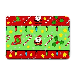 Christmas pattern - green and red Small Doormat