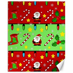 Christmas pattern - green and red Canvas 11  x 14