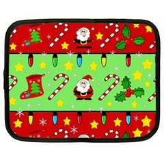 Christmas pattern - green and red Netbook Case (Large)