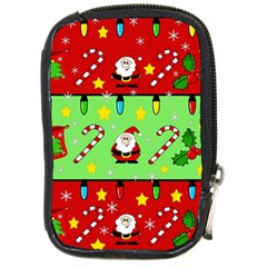 Christmas pattern - green and red Compact Camera Cases