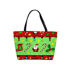 Christmas pattern - green and red Shoulder Handbags