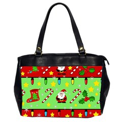 Christmas pattern - green and red Office Handbags (2 Sides)
