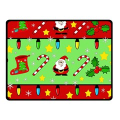 Christmas pattern - green and red Fleece Blanket (Small)