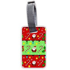 Christmas pattern - green and red Luggage Tags (Two Sides)