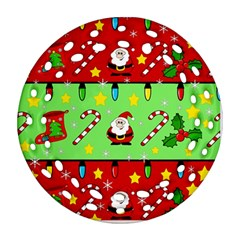 Christmas pattern - green and red Ornament (Round Filigree)