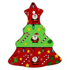 Christmas pattern - green and red Christmas Tree Ornament (2 Sides)
