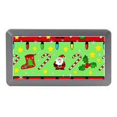 Christmas pattern - green and red Memory Card Reader (Mini)