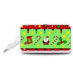 Christmas pattern - green and red Portable Speaker (White)