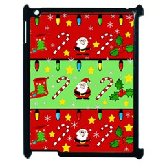 Christmas pattern - green and red Apple iPad 2 Case (Black)