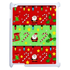 Christmas pattern - green and red Apple iPad 2 Case (White)
