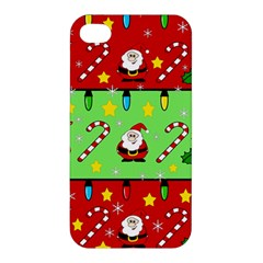 Christmas pattern - green and red Apple iPhone 4/4S Premium Hardshell Case
