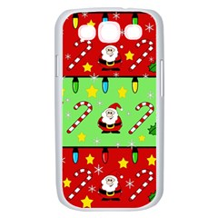 Christmas pattern - green and red Samsung Galaxy S III Case (White)
