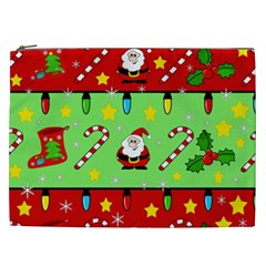 Christmas pattern - green and red Cosmetic Bag (XXL)