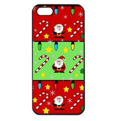Christmas pattern - green and red Apple iPhone 5 Seamless Case (Black)