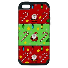 Christmas pattern - green and red Apple iPhone 5 Hardshell Case (PC+Silicone)