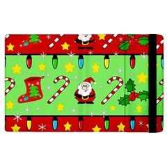 Christmas pattern - green and red Apple iPad 2 Flip Case