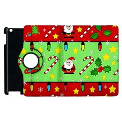 Christmas pattern - green and red Apple iPad 2 Flip 360 Case