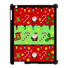Christmas pattern - green and red Apple iPad 3/4 Case (Black)