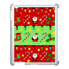 Christmas pattern - green and red Apple iPad 3/4 Case (White)