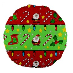 Christmas pattern - green and red Large 18  Premium Round Cushions