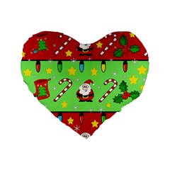 Christmas pattern - green and red Standard 16  Premium Heart Shape Cushions