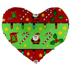 Christmas pattern - green and red Large 19  Premium Heart Shape Cushions