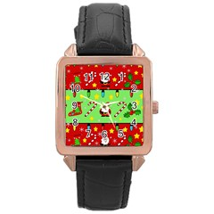 Christmas pattern - green and red Rose Gold Leather Watch