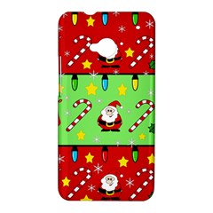 Christmas pattern - green and red HTC One M7 Hardshell Case